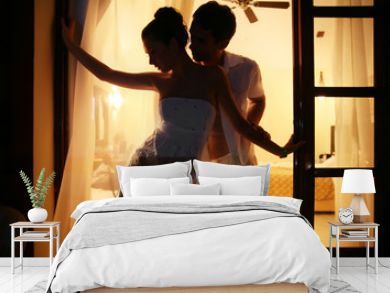 Romantic couple in a hotel room
