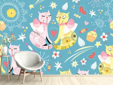 seamless pattern with lovers cats