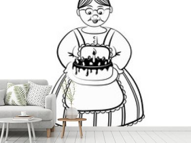 Old lady with birthday cake, outlined