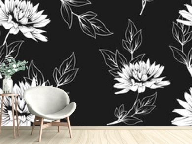 floral seamless pattern. monochrome vector background