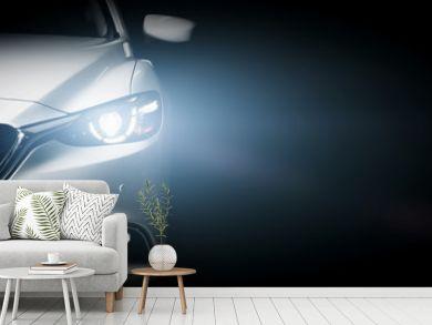 Modern luxury car close-up banner background