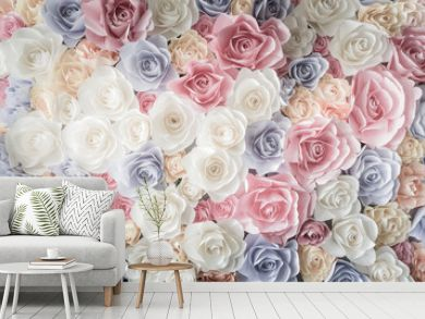 Backdrop of colorful paper roses