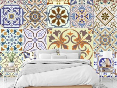 Big set of tiles background.