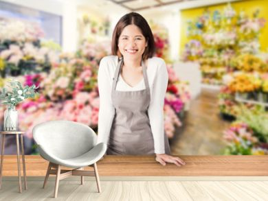 asian female florist with flower shop background