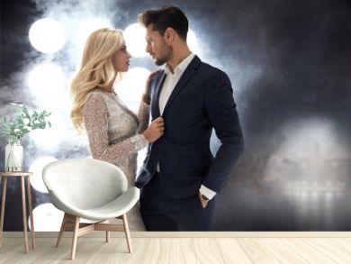 Romantic style portrait of an elegant couple