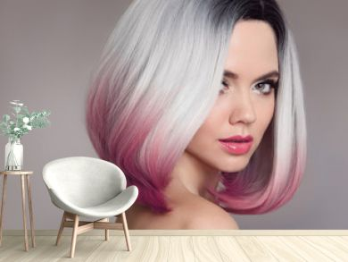 Ombre bob short hairstyle. Beautiful hair coloring woman. Fashion Trendy haircut. Blond model with short shiny hairstyle. Concept Coloring Hair. Beauty Salon.