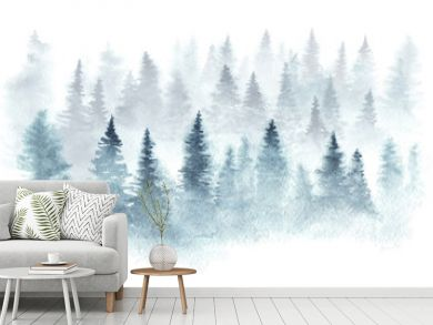 Winter forest in a fog painted in watercolor.