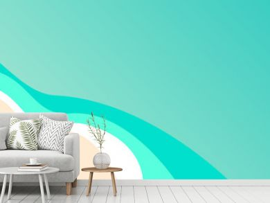 banner Summer concept, vector background. Beach and sea with umbrella and boat,  view from above