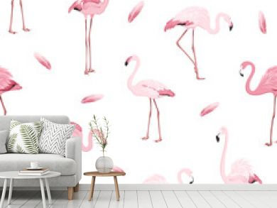 Exotic pink flamingos colony flamboyance flock feather seamless pattern on clean white background. Wading bird species realistic detailed vector design illustration. Vector design illustration.