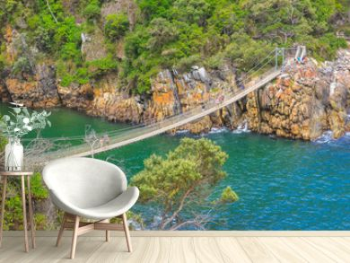 The Suspension Bridge over the Storms River Mouth within Tsitsikamma National Park, Eastern Cape, near Plettenberg Bay in South Africa. It is an important tourist destination along the Garden Route.