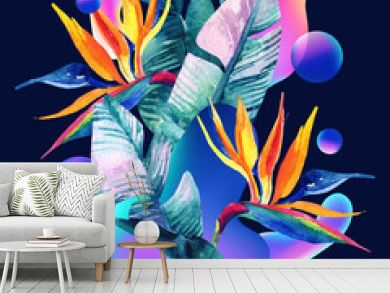 Abstract soft gradient blur, colorful fluid and geometric shapes, watercolor palm drawing.