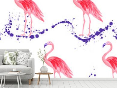 Trendy flamingo watercolor seamless tropical pattern. Paint splashes backdrop, stains splatter texture. Flamingo bird watercolor textile background, seamless fashionable pattern design.