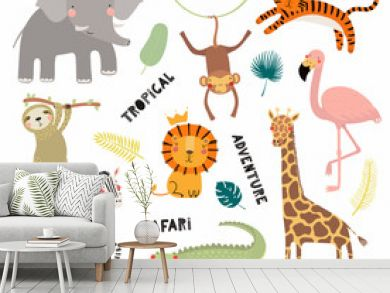 Set of cute funny animals flamingo, sloth, crocodile, elephant, giraffe, lion, tiger, monkey, zebra. Isolated objects on white. Vector illustration Scandinavian style design Concept kids print