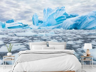 Antarctica beautiful landscape, blue icebergs, nature wilderness