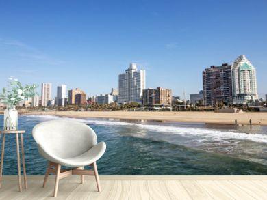 Ocean and Beach Against City Skyline Durban South Africa
