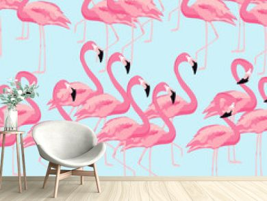 Tropical flamingo bird seamless pattern background. Colorful tropical poster design. Flamingos art print. Wallpaper, fabric, textile, wrapping paper vector illustration design