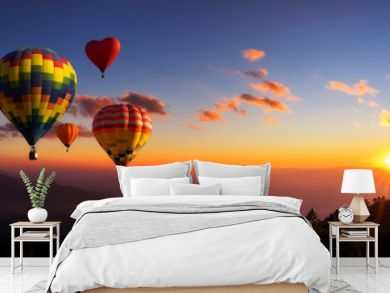 Hot air balloons with landscape mountain.