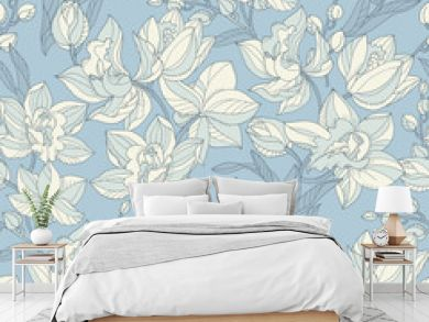 Tropical seamless pattern with tender orchid flowers