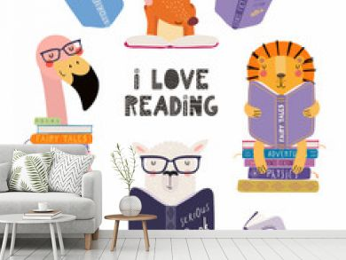 Set of cute funny animals with books, lion, llama, flamingo, fox, with quote. Isolated objects on white background. Hand drawn vector illustration. Scandinavian style flat design. Concept kids print.