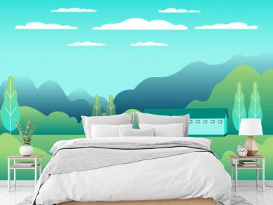 Rural design. Village landscape in flat style. Countryside landscape. Beautiful green fields, meadow, mountains and blue sky. Rural location in the hill, forest, trees, background cartoon vector