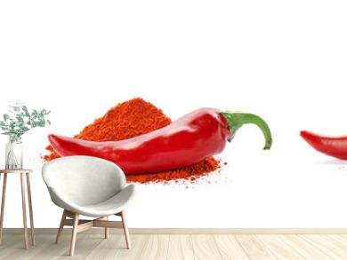 Set with chili pepper powder on white background
