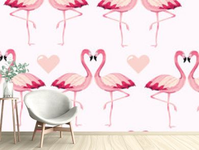 tropical flamingos animal and heart background
