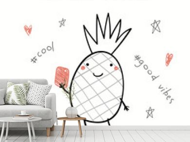 Hand drawn vector illustration of a cute funny pineapple with a smart phone, taking selfie, with text Perfect selfie. Isolated objects on white background. Line drawing. Design concept for kids print.