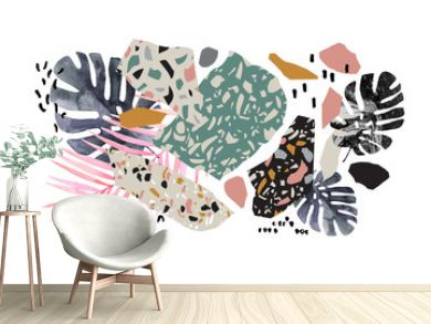 Tropical watercolor leaves, turned edge geometric shapes, terrazzo flooring elements collage