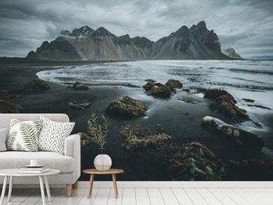 Exotic landscape of the volcanic beach. Location Stokksnes cape, Vestrahorn, Iceland, Europe.