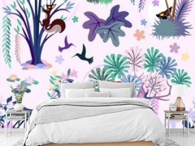 Enchanted Pink Jungle Seamless Pattern Vector Textile Design