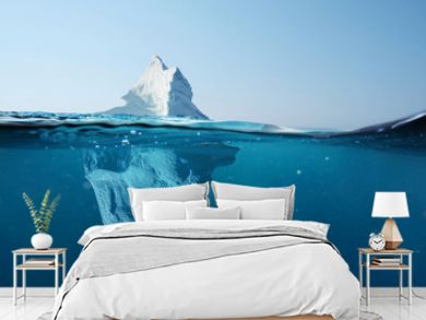 Iceberg in the ocean with a view under water. Crystal clear water. Hidden Danger And Global Warming Concept
