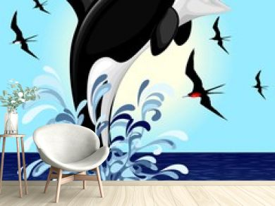 Orca Killer Whale jumping out of Ocean Vector illustration