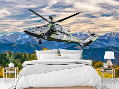 German military armed attack helicopter in flight
