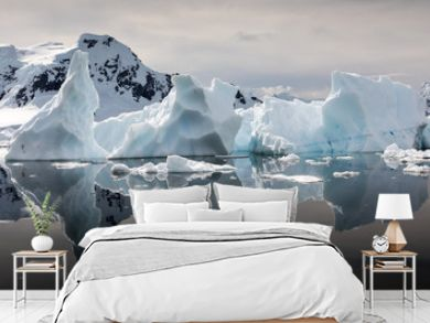 Interesting shapes of icebergs reflected in the waters of Paradise Habour, Antarctica