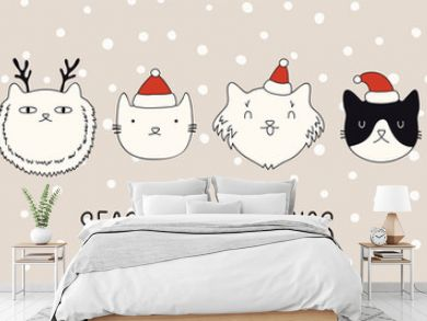 Hand drawn card, banner with different cute cats faces in Santa Claus hats, text Seasons greetings. Vector illustration. Line drawing. Isolated objects. Design concept for Christmas print, invite.