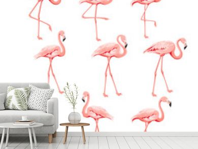 Set of flamingo birds elements. Collection of flamingos on a white background. Tropical birds collection. Pink flamingos set for summer print bundle. Vector illustration bundle.