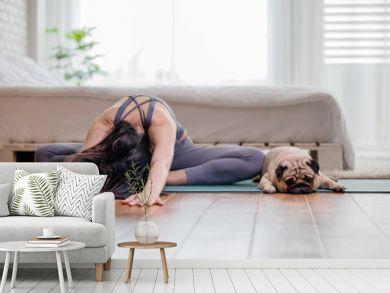 woman practice yoga with dog pug breed
