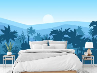 Horizontal tropical landscape with palm trees silhouette, hills and mountains outline. Rainforest panorama in blue. Amazonian jungle banner with sunrise. For advertisements, landing pages, wallpapers
