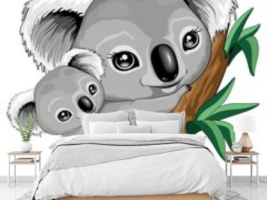 Koala Baby and Mother on Eucalypt Branch Cute Characters Vector Illustration