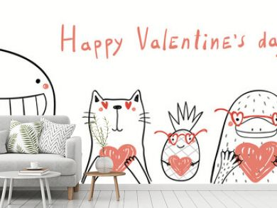 Hand drawn vector illustration of cute cat, whale, unicorn, platypus, pineapple holding hearts, with text Happy Valentines day. Isolated on white. Line drawing. Design concept for kids card, banner.