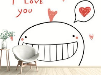 Hand drawn vector illustration of a cute funny whale holding hearts garland, with text I love you. Isolated objects on white background. Line drawing. Design concept kids Valentines day card, invite.