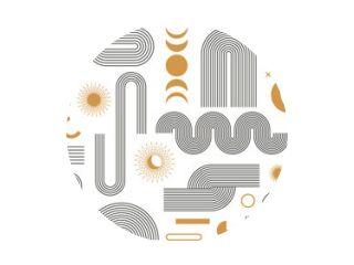Abstracte boho esthetische geometrische vorm set. Eigentijds lijnontwerp uit het midden van de eeuw met zon- en maanstanden in trendy bohemienstijl. Moderne vectorillustratie