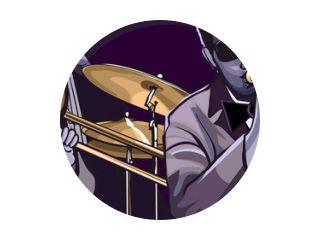 jazzband met trombonne trompet contrabas en drum