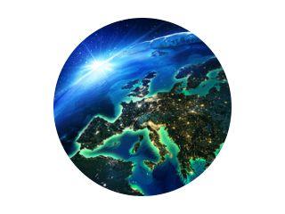 landoppervlak in Europa de nacht
