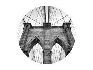 Brooklyn Bridge New York City close-up architectonische details in tijdloos zwart-wit