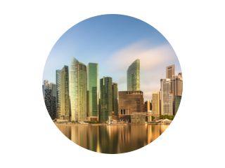 Skyline van Singapore en uitzicht op Marina Bay