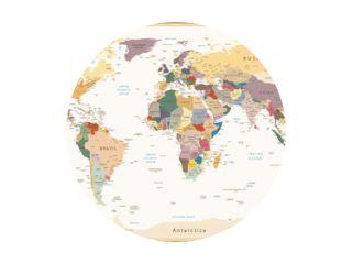 Zeer gedetailleerde politieke wereldkaart Vintage kleuren