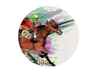 Paardenrennen over grunge achtergrond