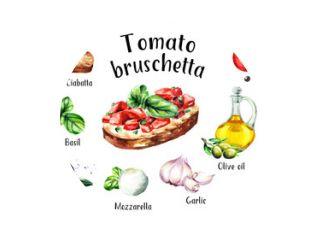 Tomaten bruschetta ingrediënten. Aquarel hand getekende illustratie, geïsoleerd op een witte achtergrond