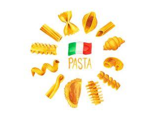 Italiaans pasta eten set aquarel illustratie met vlag van Italië inclusief penne, fusili, boog en shell